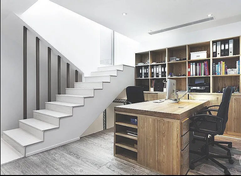 Traditional office in a basement