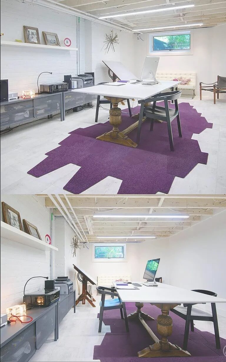 Basement office with a conference table