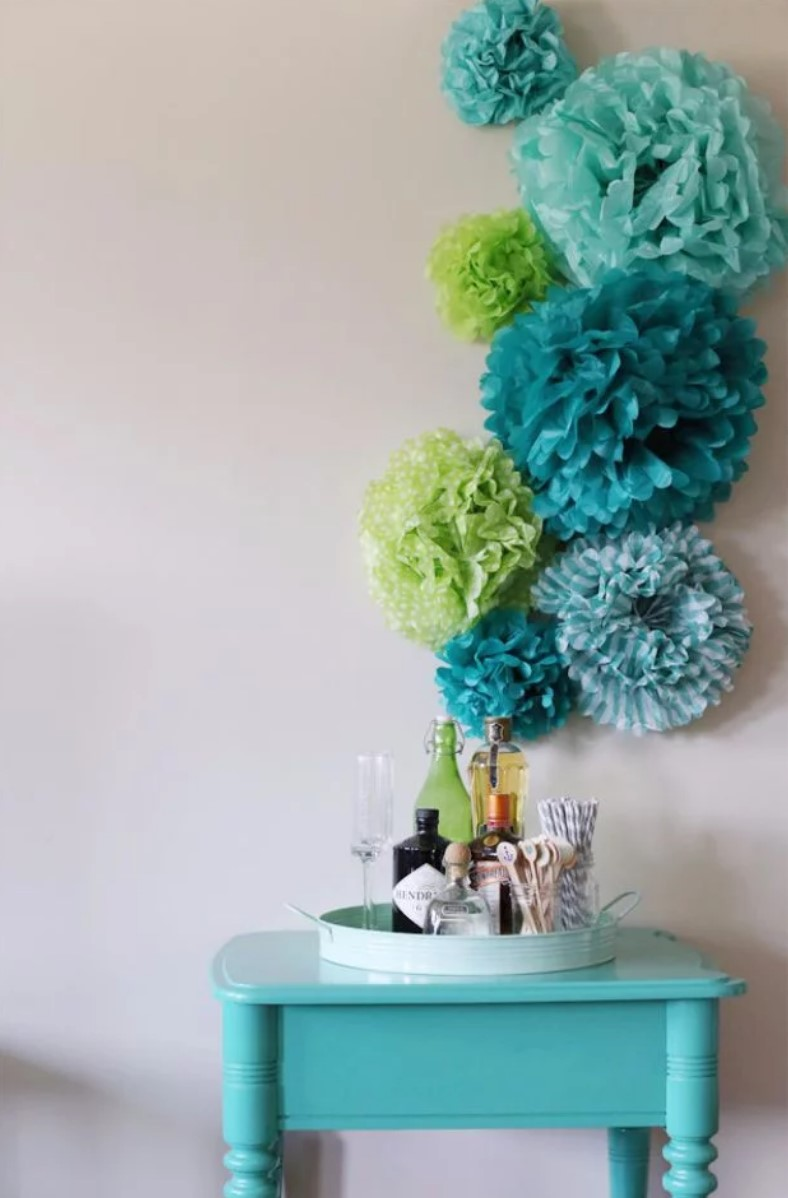 paper flowers on the wall