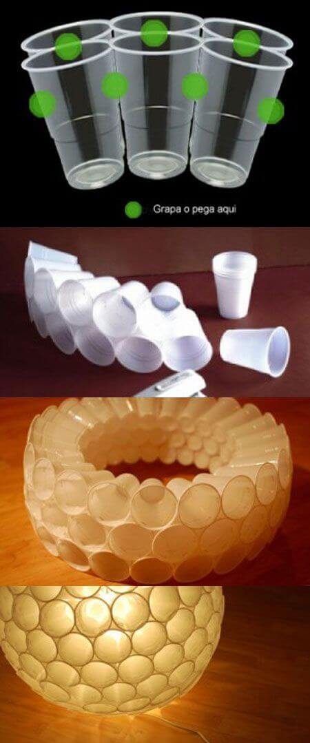 Display of plastic cups