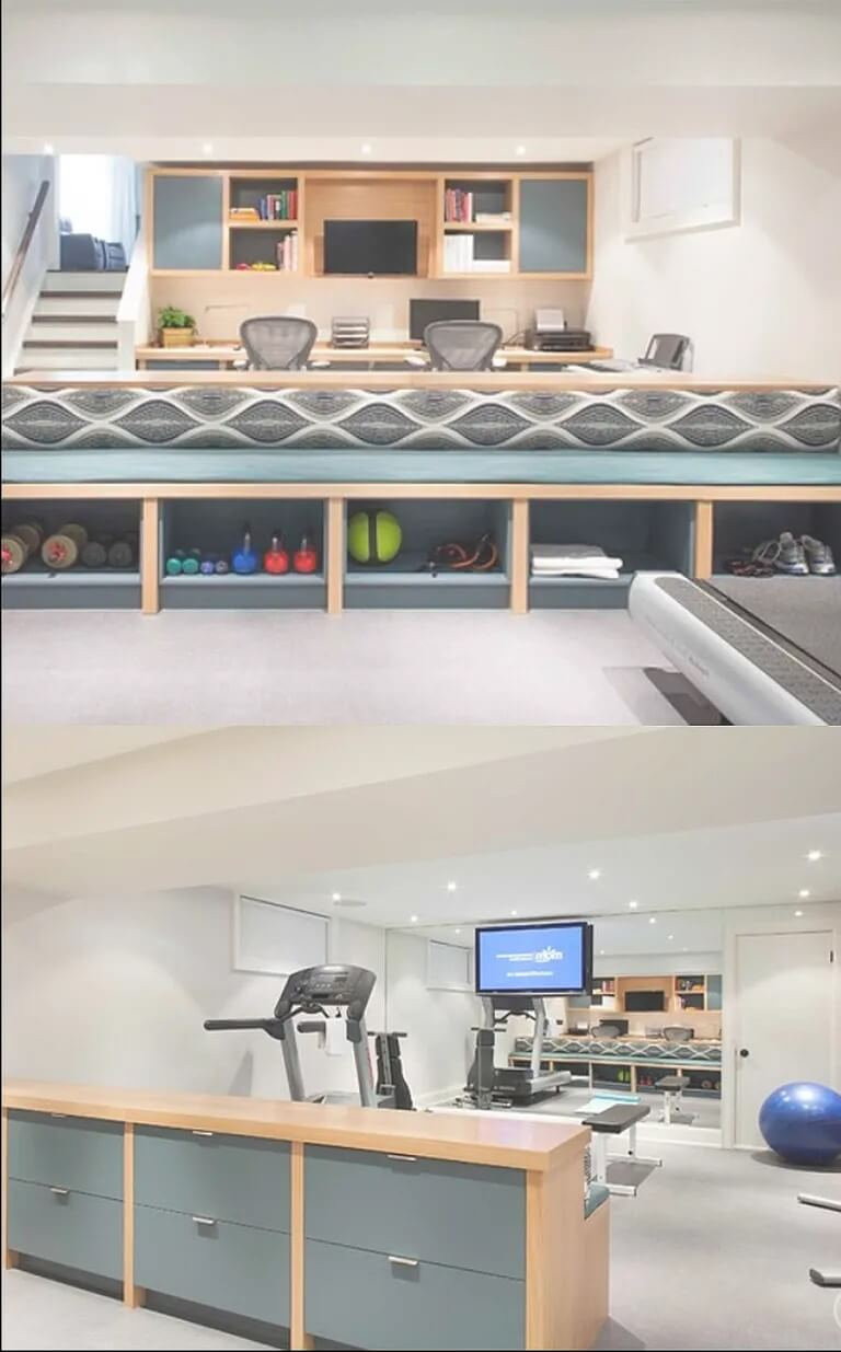Basement gym and office combo