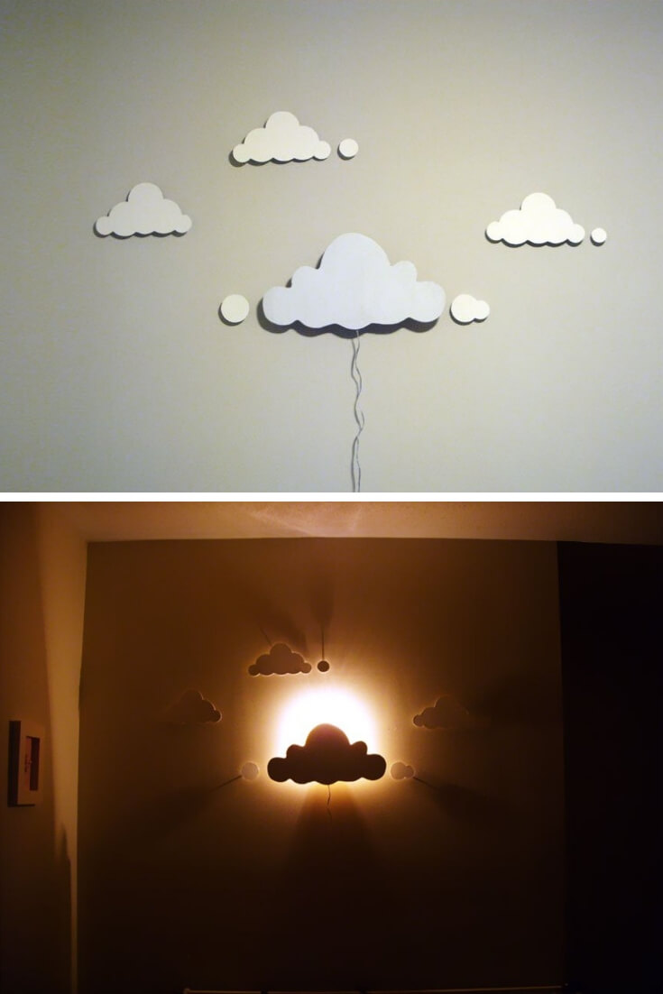Night lights in the form of clouds