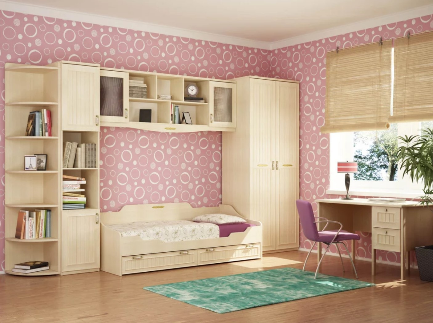 Room with a wall decorated with pink semicircles