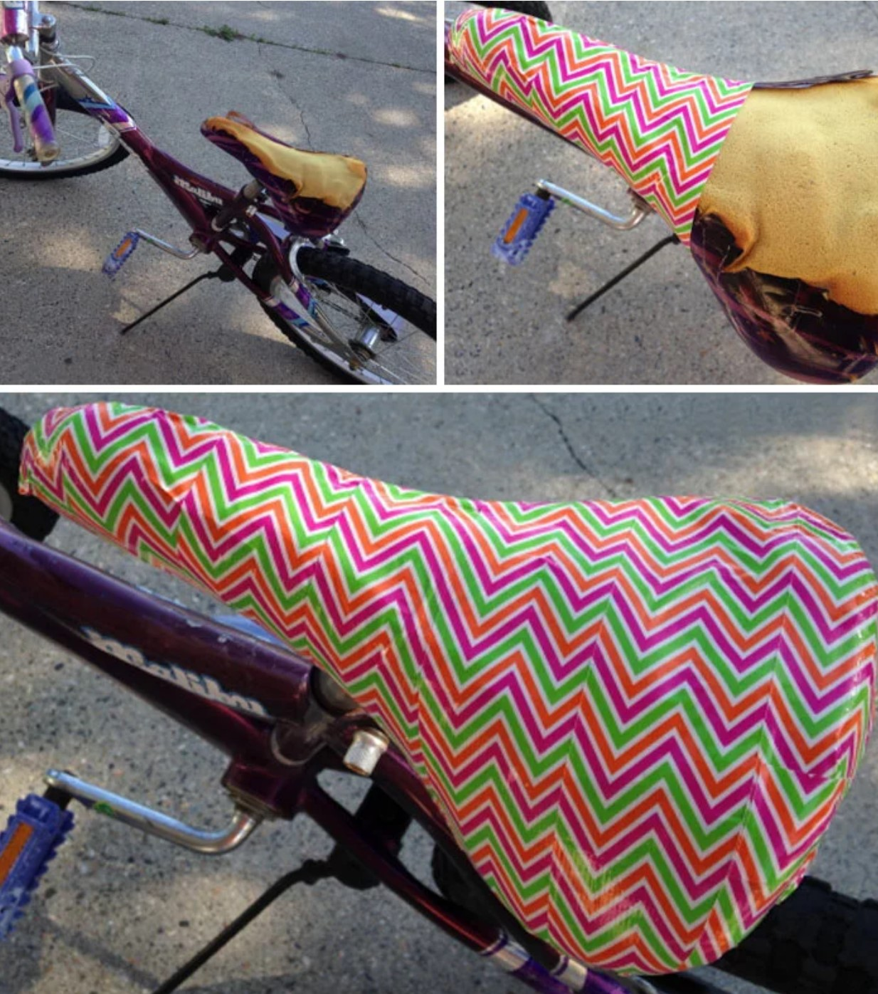 Bicycle seat lined with tape