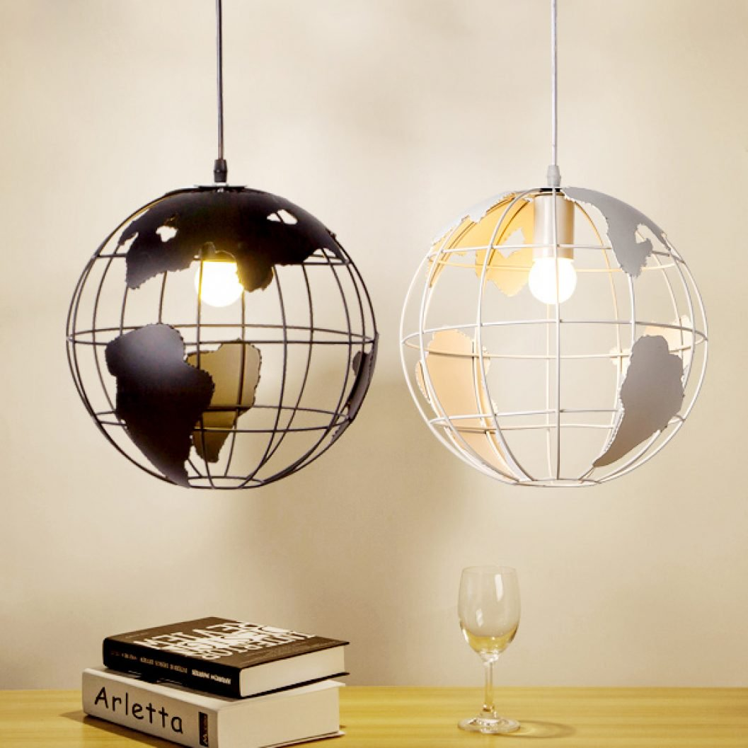 black and white globe lamps
