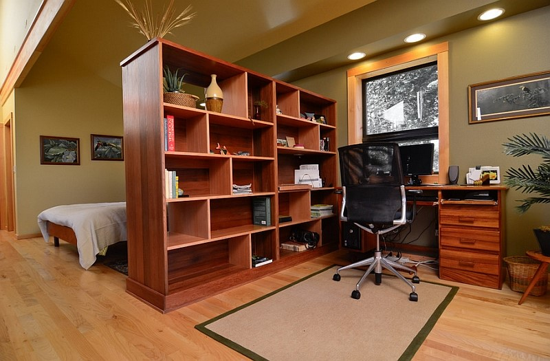Basement bedroom office with dividers
