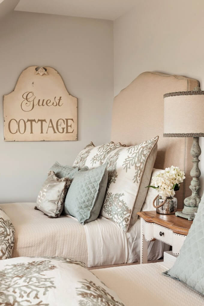 Upholstered Headboard with Wooden Welcome Board