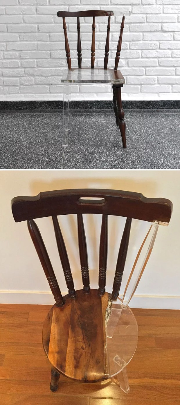 Chairs are broken and completed with a piece of acrylic
