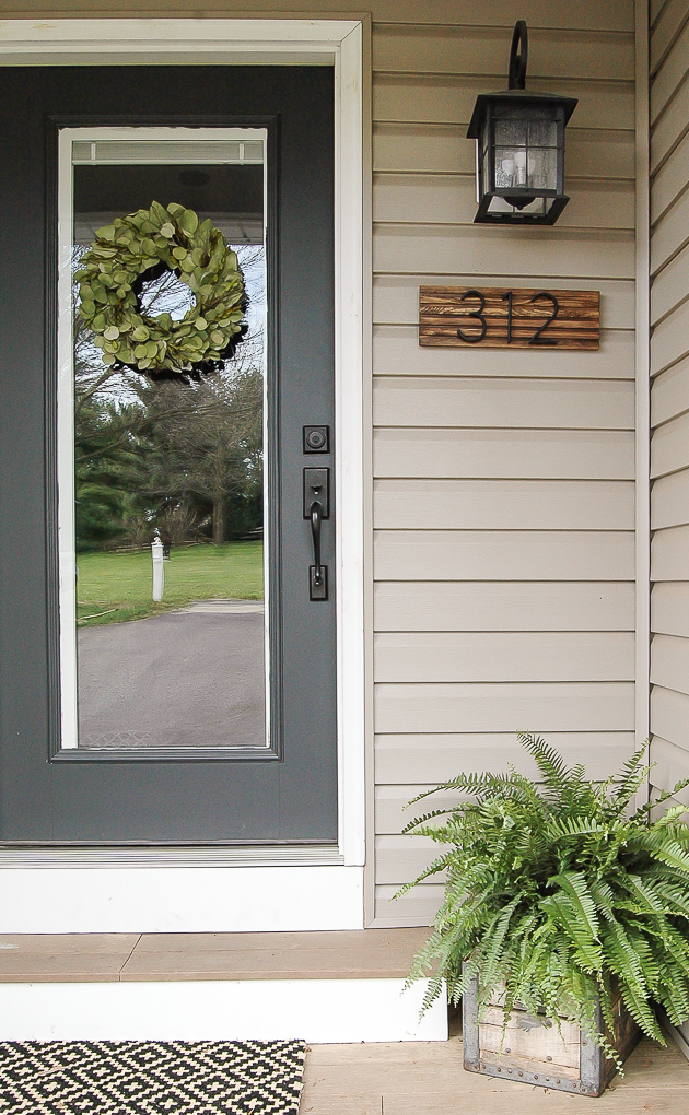 Modern house number sign with affordable dowel rods