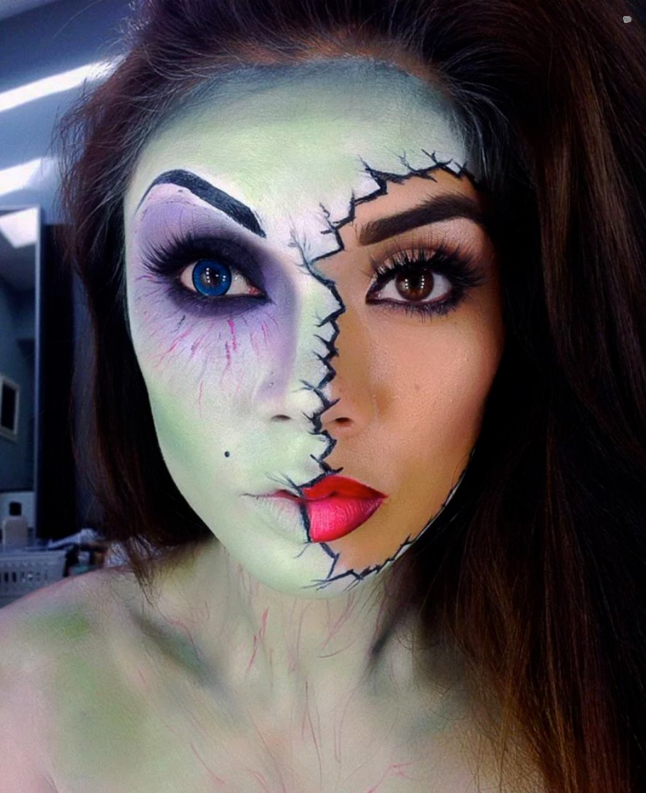 Girl with makeup for halloween with half of face painted
