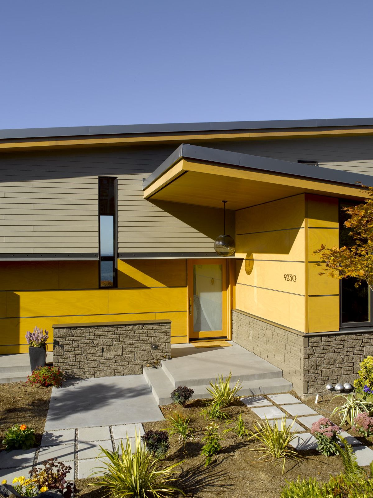 Mid-century modern with yellow exterior