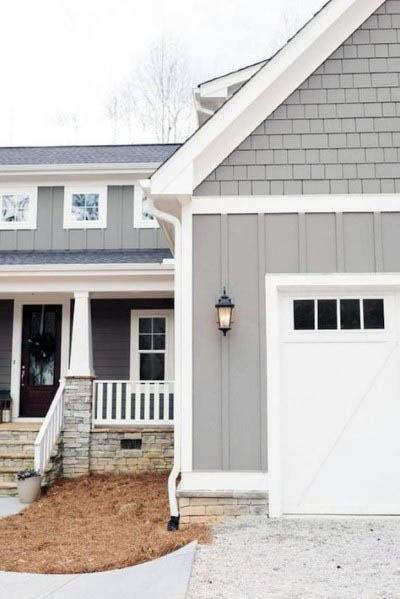 Traditional grey and white siding designs