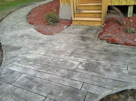 Wood stamped concrete patio