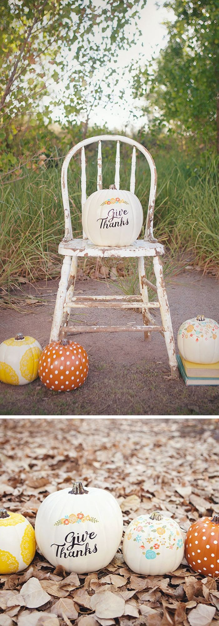 DIY Hand-Painted Pumpkins With 'Give Thanks' Letters