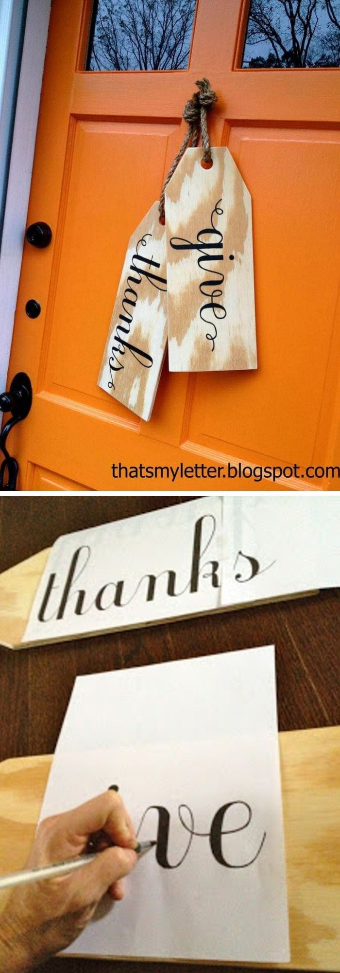 Giant wood tags for Thanksgiving