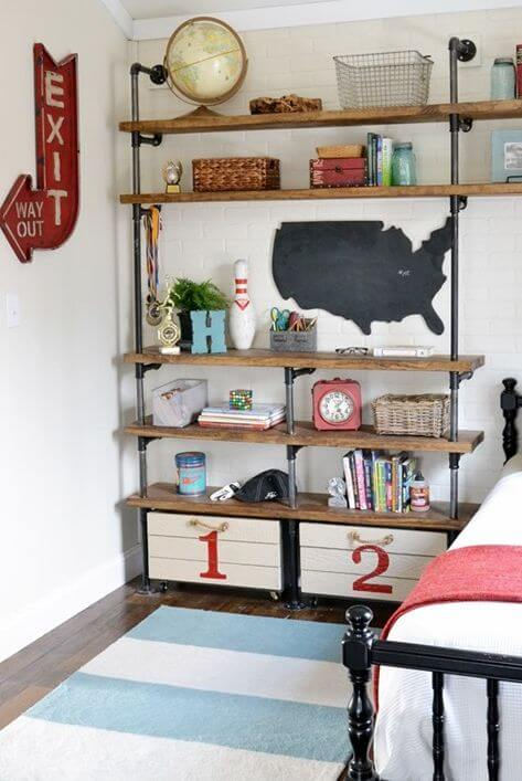 The industrial pipes - Clever DIY Toy Storage & Organization Ideas & Projects For Kids