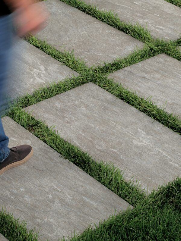 Use of Porcelain Tiles as Stepping Stones and Pathways
