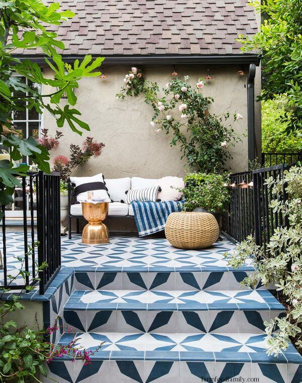 How About a Painted Concrete Tile Patio?