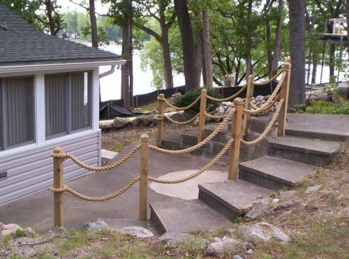 Roped off stairs | Beach-Style Outdoor Ideas For Your Porch and Backyard