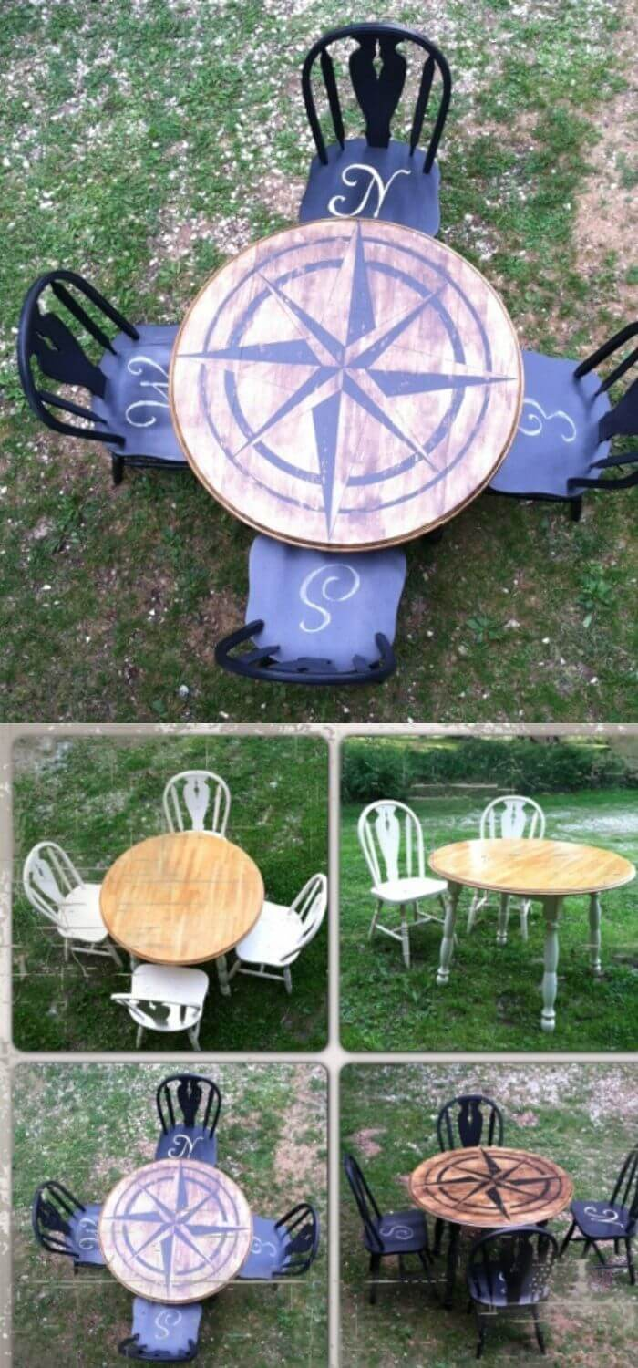 Compass table and chairs | Beach-Style Outdoor Ideas For Your Porch and Backyard