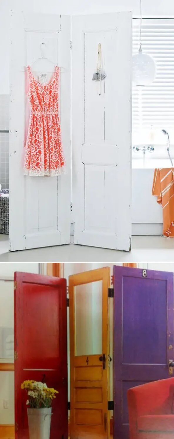Screen divider with attached doors