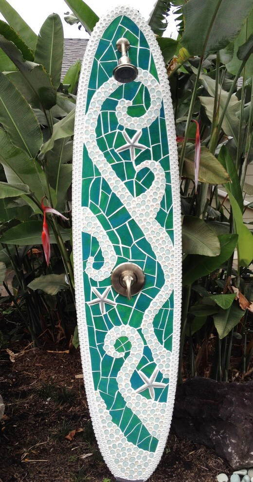 Outdoor shower from longboard and starfishes | Beach-Style Outdoor Ideas For Your Porch and Backyard