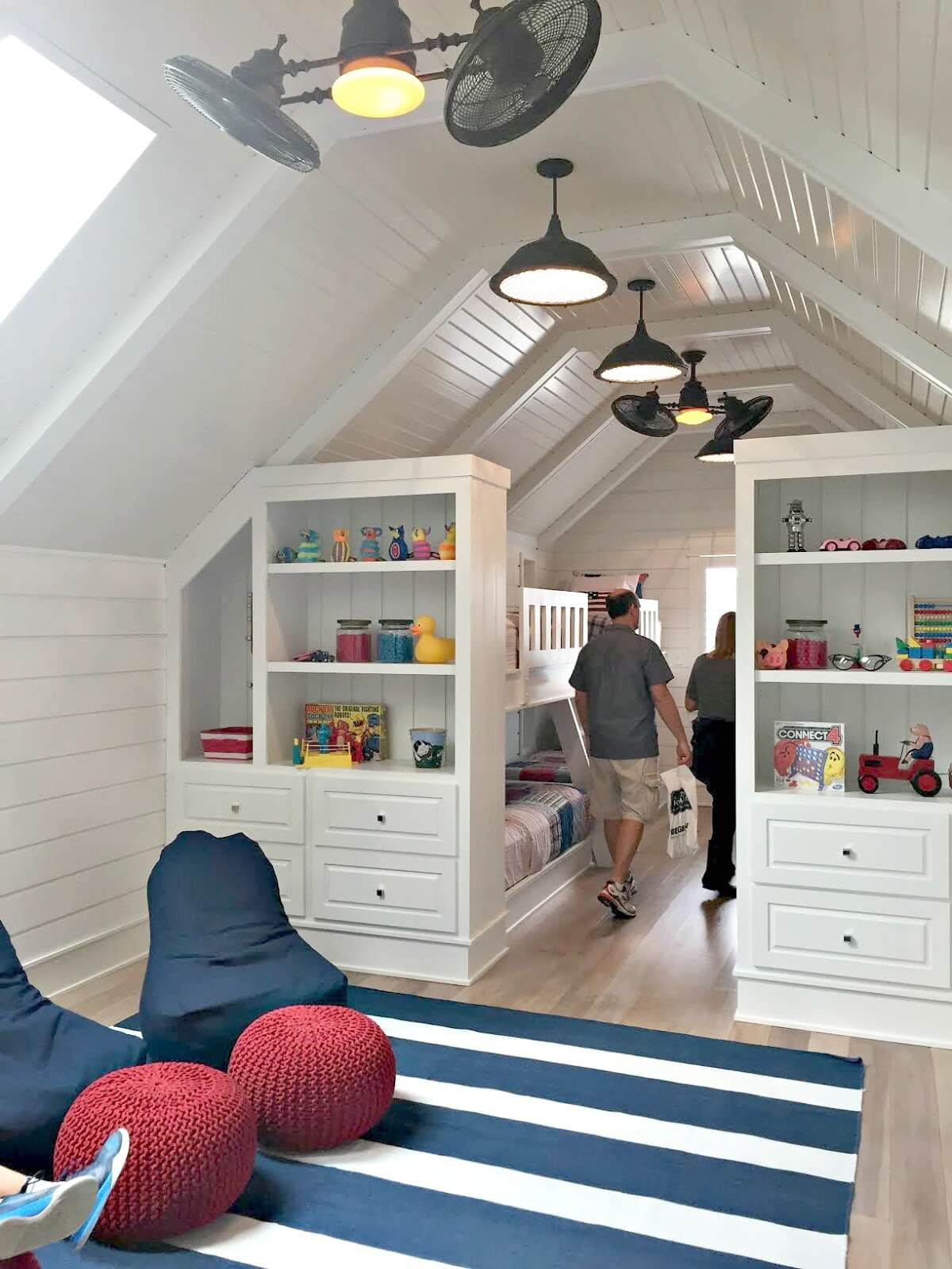 A bookcase space for kids next to the buck bed
