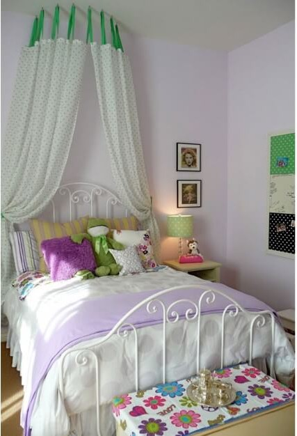 Arrange hooks in a semi-circle and hang ready-made curtains