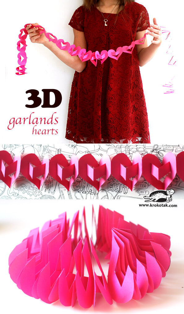 3D garland hearts | Heart-Shaped Crafts For Valentine's Day