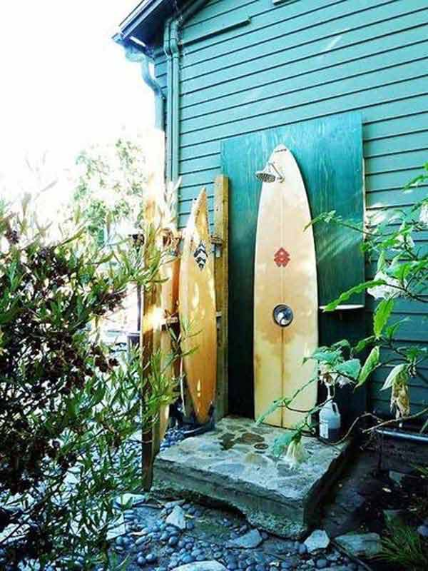 Outdoor shower from surfboards | Beach-Style Outdoor Ideas For Your Porch and Backyard