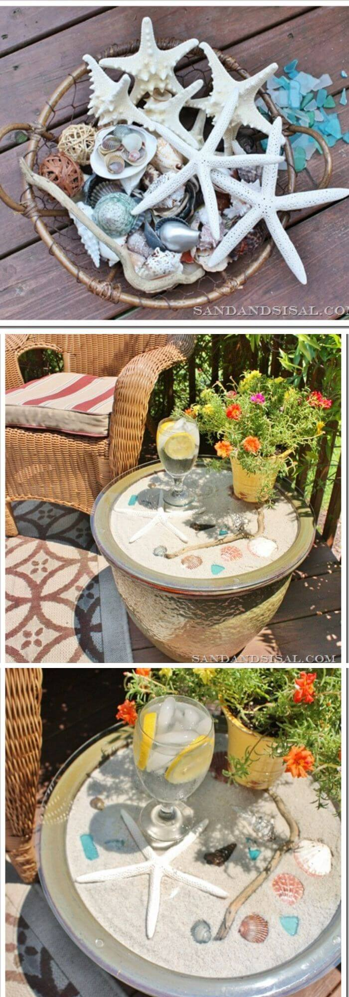 Ceramic planter side table | Beach-Style Outdoor Ideas For Your Porch and Backyard