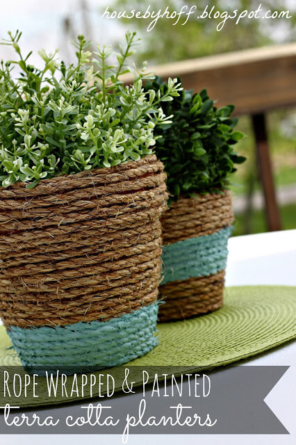 Rope wrapped pots | Beach-Style Outdoor Ideas For Your Porch and Backyard