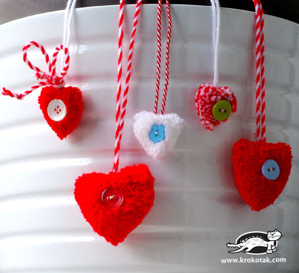 Heart-shaped pom pom | Heart-Shaped Crafts For Valentine's Day