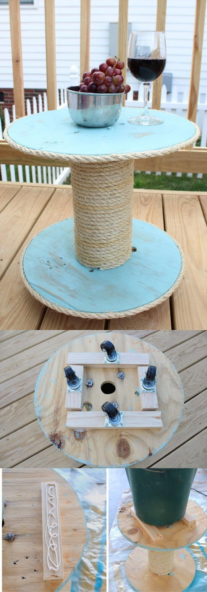 DIY nautical spool side table | Beach-Style Outdoor Ideas For Your Porch and Backyard