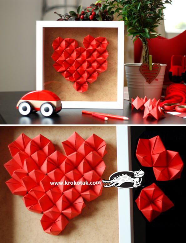Origami heart | Heart-Shaped Crafts For Valentine's Day