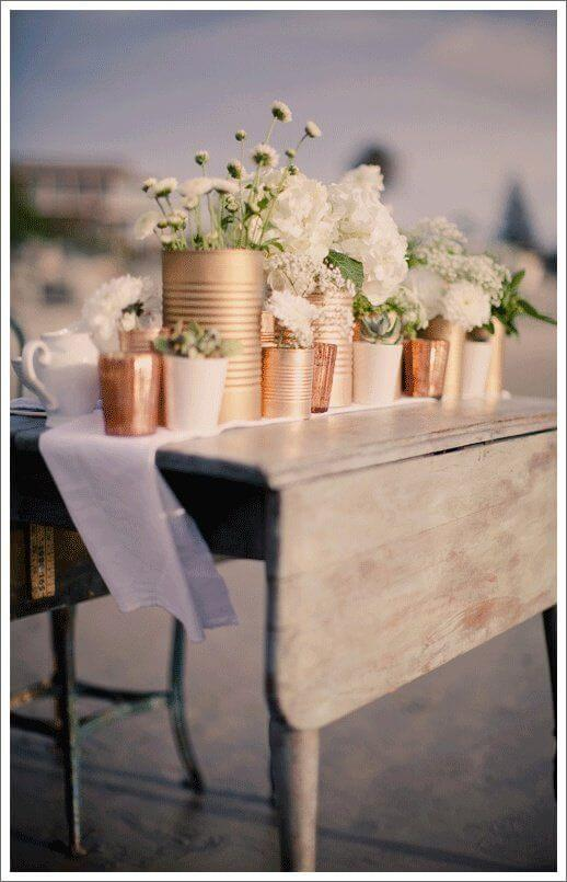 Hanging Up cylinder Tin Can Vases