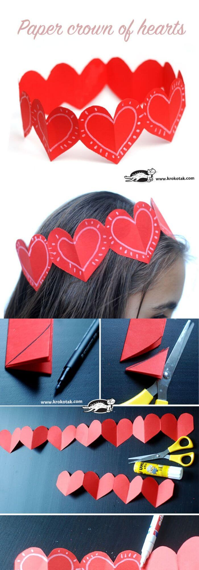 Paper crown of hearts | Heart-Shaped Crafts For Valentine's Day