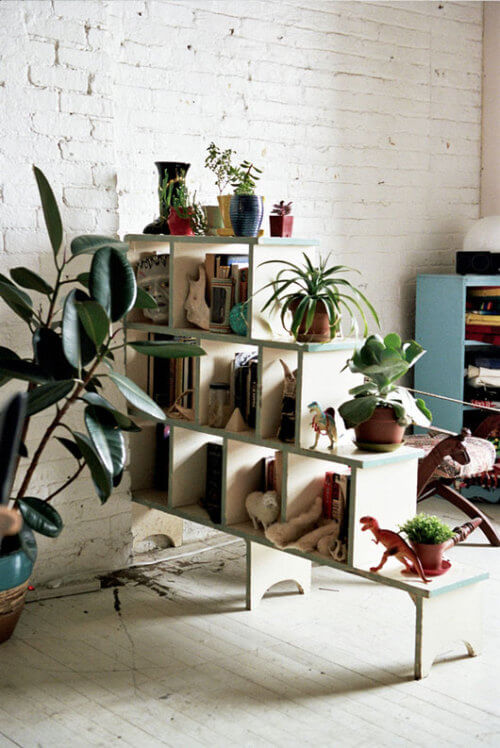 Staggered bookcase system for divider