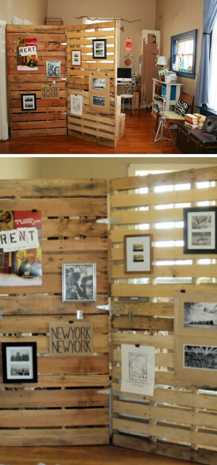 Recycled wooden pallet for room divider