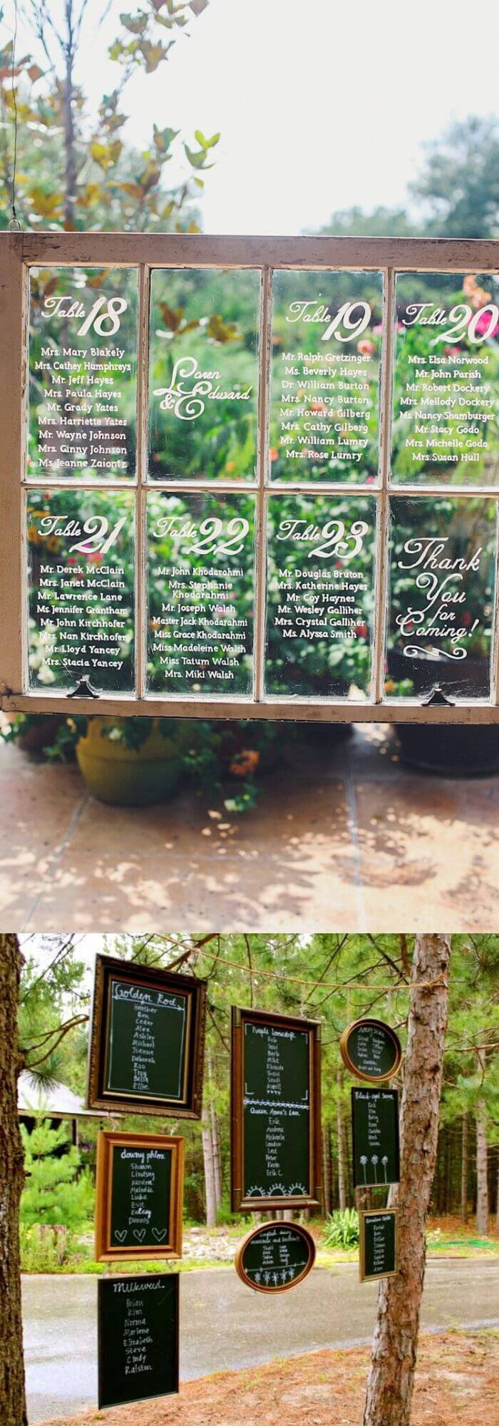 Seating chart from old window or hanging chalk board frames