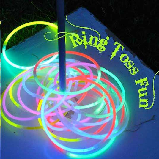 Play a nighttime ring toss game