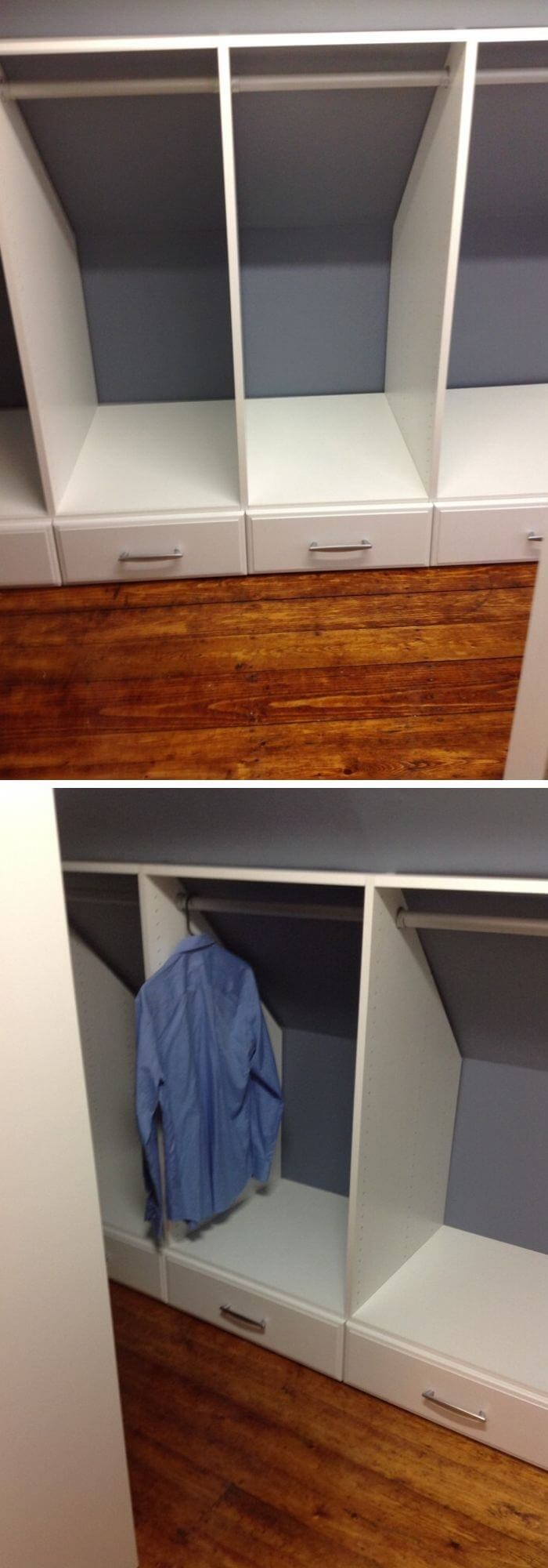 Need an extra closet? Design an easy attic closet with drawers and hanging rods