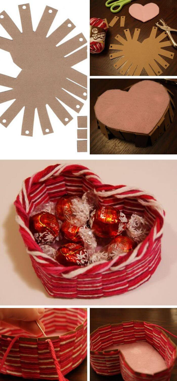 Heart-shaped yarn basket | Heart-Shaped Crafts For Valentine's Day