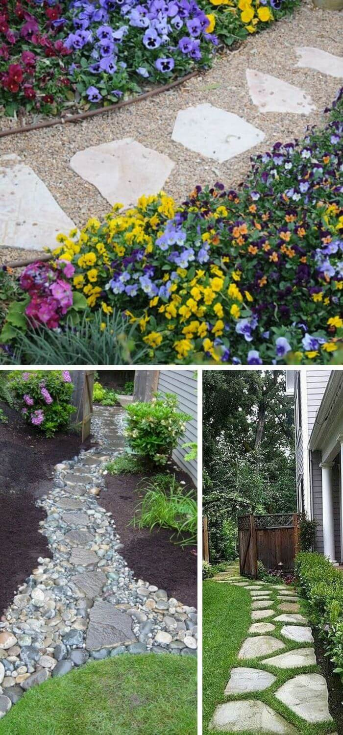 A Backyard with Stepping Stone pathways