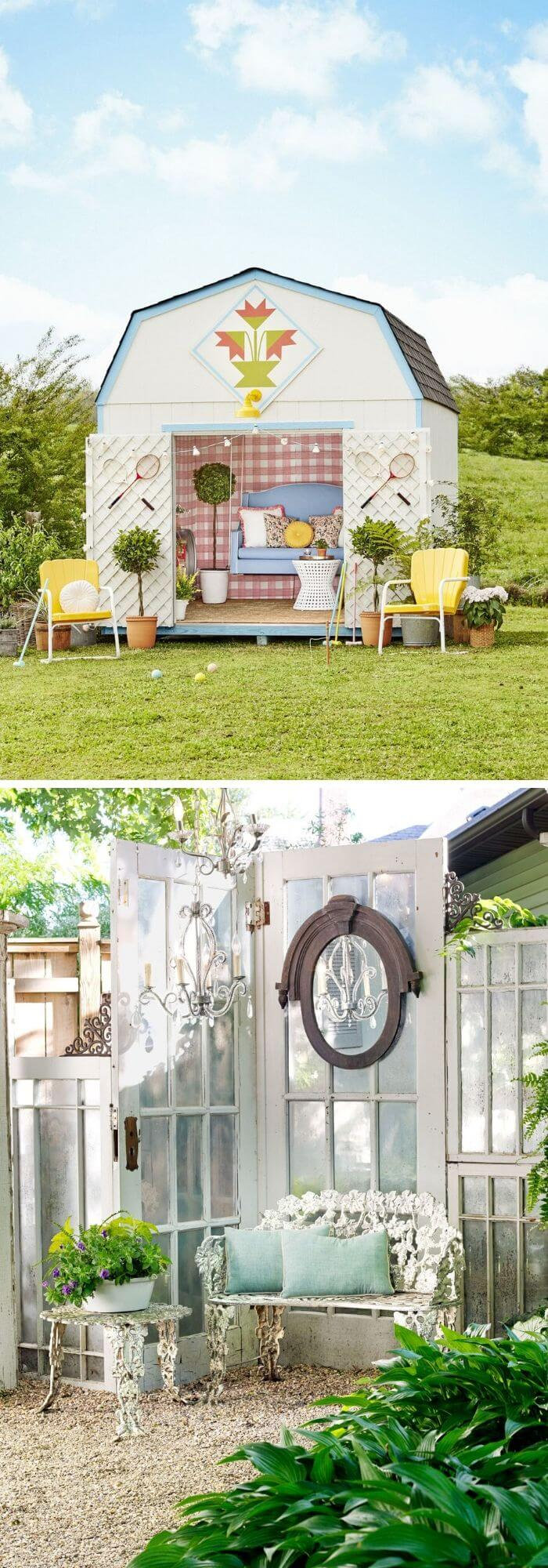 A Backyard with a Chic Shed