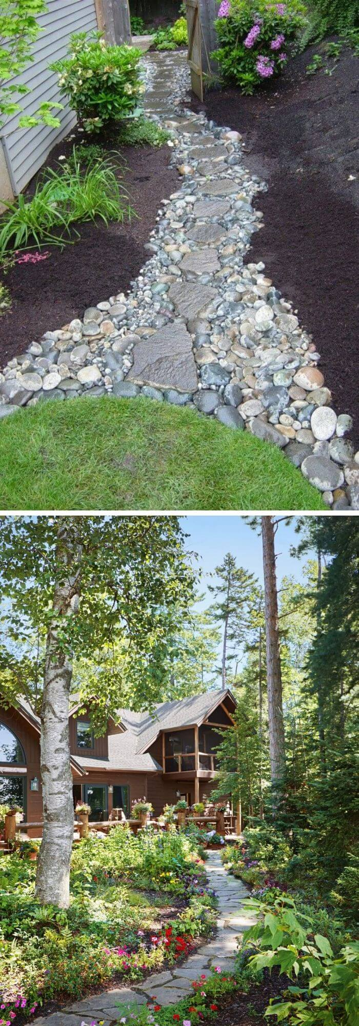 A Backyard with a simple Stone Path