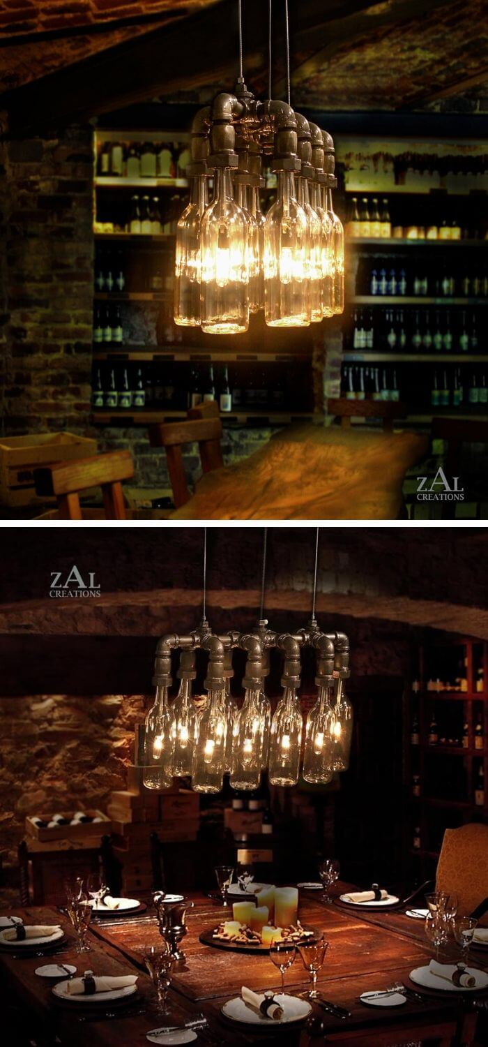 Pendant Light from Beer Bottles