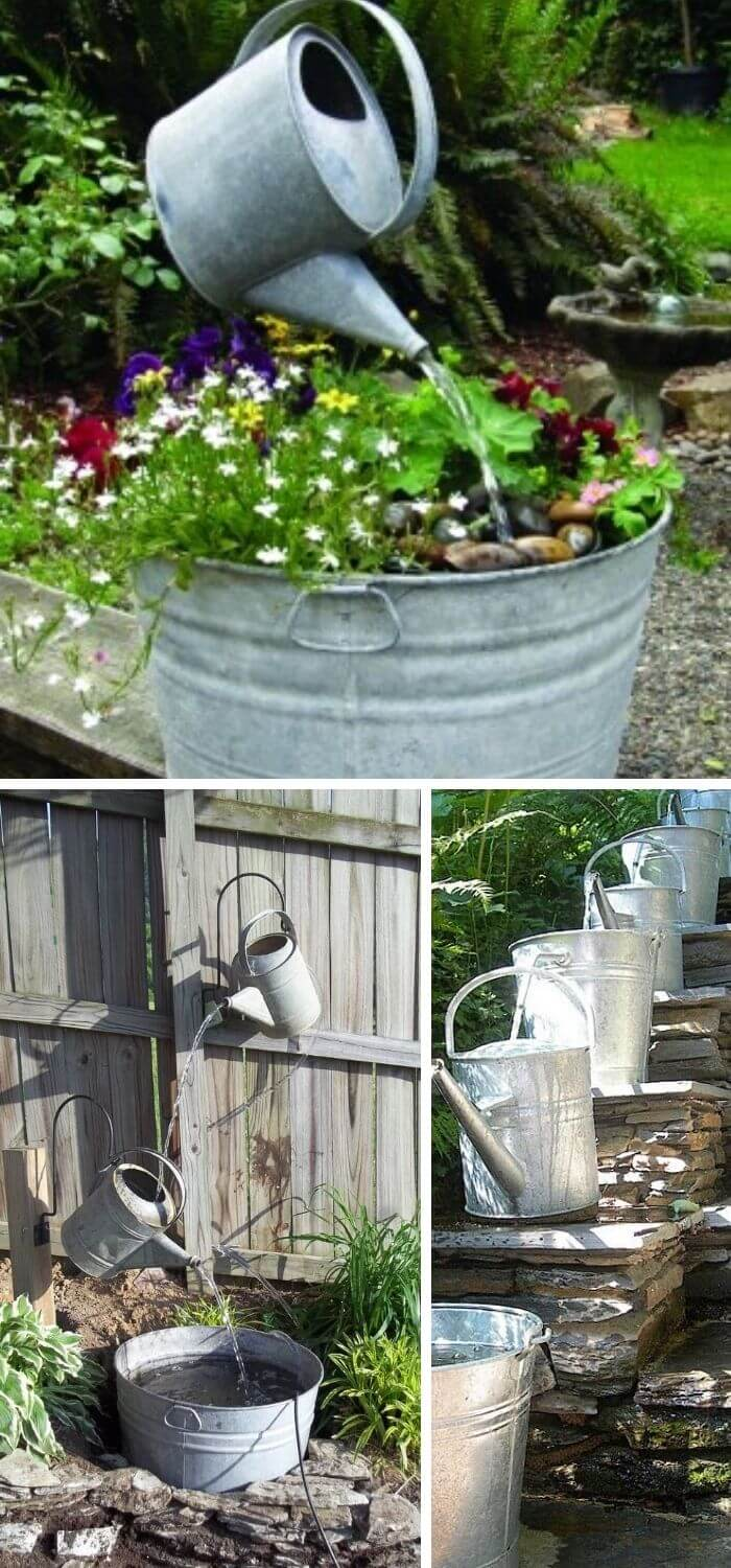 A Backyard with Watering Can Fountain