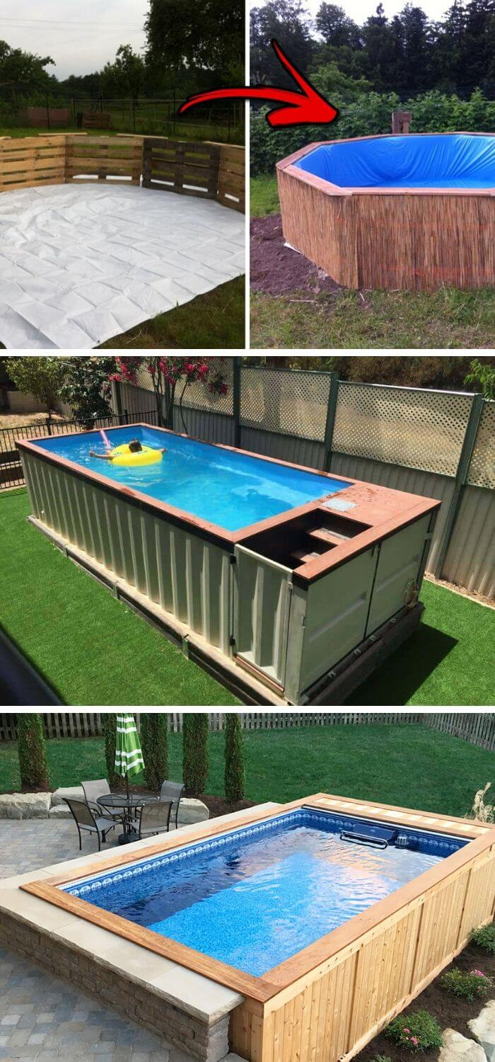 A Backyard with a Budget Swimming Pool