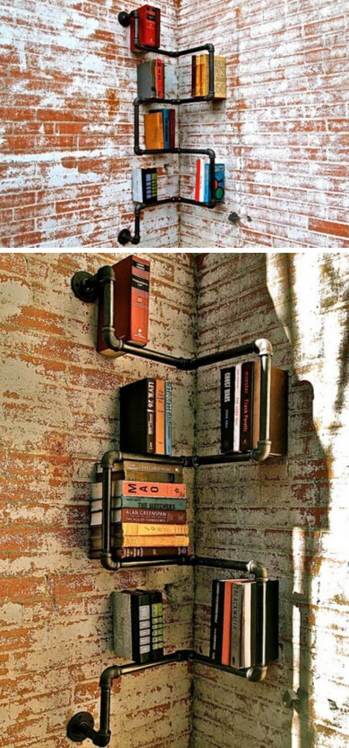 Pipe corner bookcase